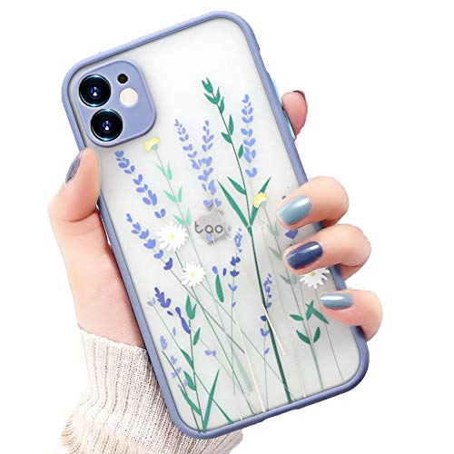 EYDLK Flower Phone Case for iPhone 11 Case Hard Transparent On iPhone 12 Pro MAX Mini XR SE Plus Cover-Grey O111-for iPhone11 Pro MAX