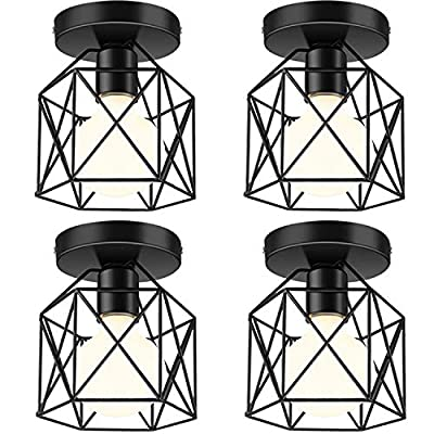 Industrial Ceiling Light Fixture 4 Pack, E26 Vintage Metal Semi Flush Mount Ceiling Light Fixtures, Rustic Cage Light Fixture for Hallway Stairway Kitchen Farmhouse, Black