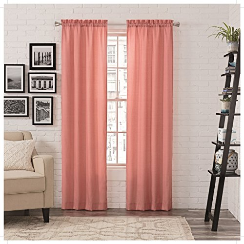 """PAIRS TO GO Curtains for Bedroom - Teller 56"""" x 84"""" Decorative Double Panel Rod Pocket Window Treatment Privacy Curtain Pair for Living Room, Blush"""