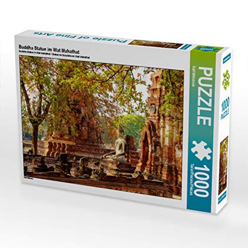 CALVENDO Puzzle Buddha Statue im Wat Mahathat 1000 Teile Lege-Größe 64 x 48 cm Foto-Puzzle Bild von Ralf Wittstock