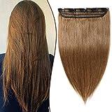 Elailite Extensiones de Clip de Pelo Natural Una Pieza Larga 25cm 40g - 100% Remy Cabello Humano Quickclip 100% Remy Human Hair #06 Castaño Claro