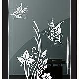 DD Dotzler Design 2111-2 Klebe-Folie   Blumenranke mit 2 Schmetterlingen   Fenster-Bild Aufkleber Wand-Tattoo Glas-Dekorfolie selbstklebend (133x65 cm) Babyblau hellblau