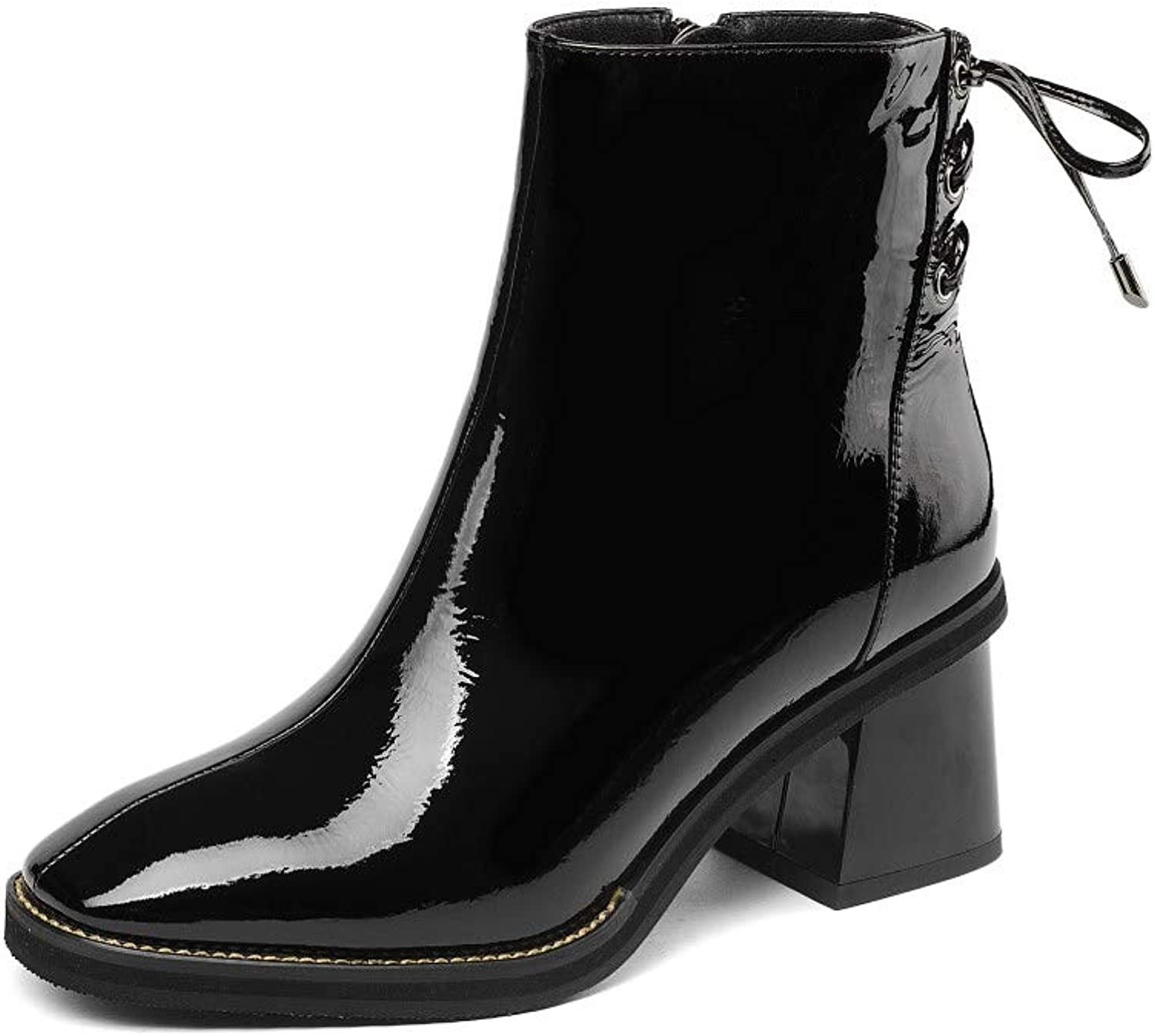 Nine Seven Patent Leather Women's Square Toe Mid Chunky Heel Lace Up Ankle Booties Handmade Dress Boots with Bowknot (7.5, Black)