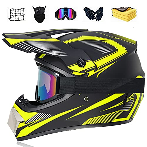 Motocross helmet (Motorcycle net, coral fleece towel, glasses, mask, off-road gloves) Unisex Bike downhill BMX cross-country helmet Suitable for teenagers,C,XL