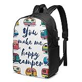 XCNGG You Make Me Happy Camper Trailer Zaino leggero da viaggio stampato con porta di ricarica USB e porta per cuffie