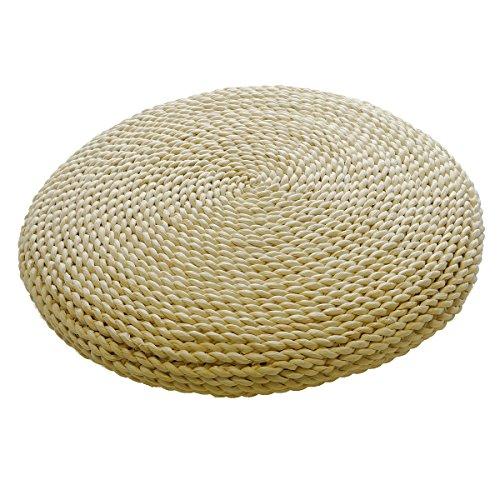 Japanwelt Maisstroh Kissen | Rundes Bodenkissen mit natürlicher Optik als Meditationskissen oder Sitzkissen - 45cm Durchmesser