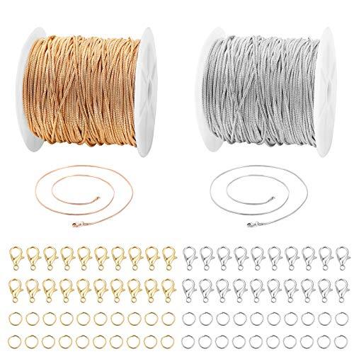 2 Rotoli Catene di Serpente Collana sfusa Catene placcatura in rame e argento 40 Pz Fermagli per aragosta e 40 Pz Anelli di salto 2 colori per gioielli Fabbricazione Braccialetto Collana Fai da te