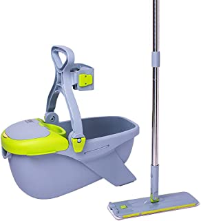 Microfiber Mop Buckets Floors Cleaning System with 2 Washable Flat Mop Pads