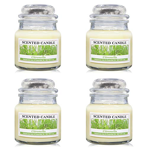 Soyyla Citronella Candles Outdoor and Indoor, 4X4oz Natural Soy Wax Glass Jar Candles