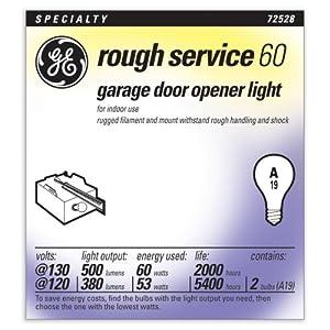 GE Lighting 72529 60-Watt A19 Garage Lighting Door Opener, 2-Pack