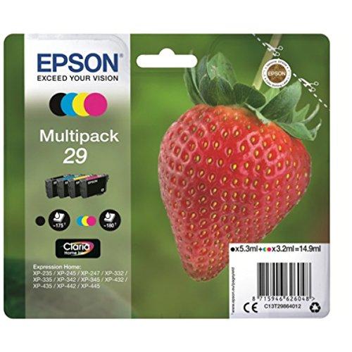 Epson 29 Serie Fragola, Cartuccia Originale Getto d'Inchiostro Claria Home, Formato Standard, Multipack 4 Colori, con Amazon Dash Replenishment Ready