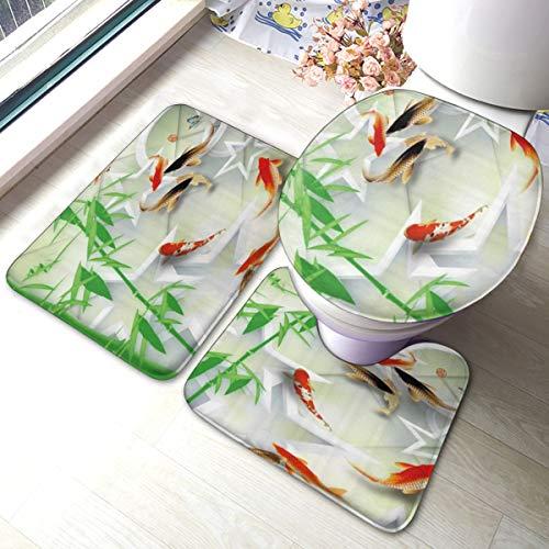 PANILUR 3 Unidades Antideslizante Juego de Alfombras para,Bamboo Fish Group Lotus Decoration Hotel Zen SPA Japonés,Alfombras Suave Agua Absorbente WC Cuarto de Baño Alfombra Antideslizante