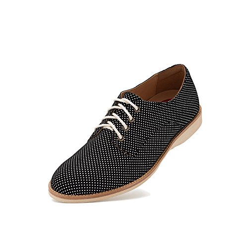 Rollie Women's Derby Blue Dream, Polka Dot Leather Oxfords Blue Flat Shoes for Women with Laces, Size 8 US / 39 EU