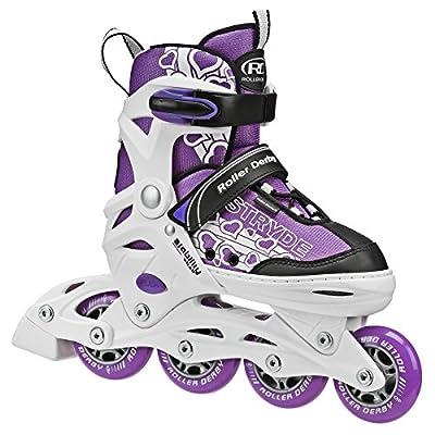 Roller Derby Stryde Girl's Adjustable Inline Skates, Medium (2-5), White/Purple