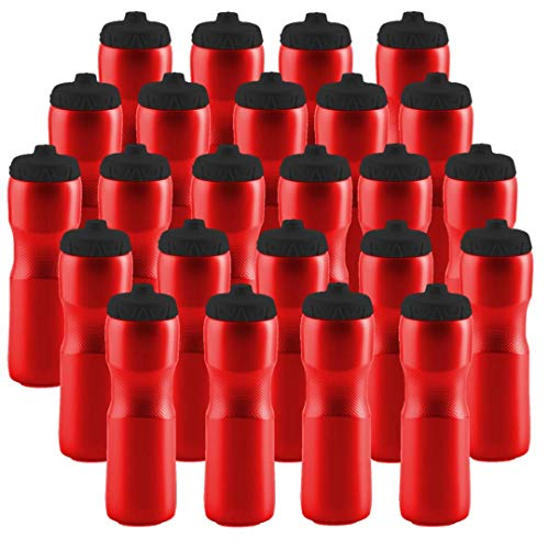 50 Strong Sports Squeeze Water Bottle with One-Way Valve - Bulk Pack of 24 Water Bottles - Leak Proof - 28 Ounces - Made in USA - Perfect for Teams, Company Events, Party Favors (Red)