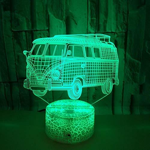 Kleine Busse berühren Fernbus Lichter 3D verfärben 3D 3D dekorative Lampe Nachtlicht Riss,Bunte schwarze Basis, Remote Touch-Schalter