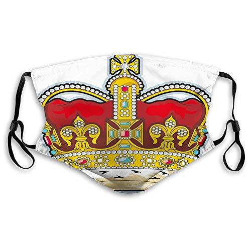 YYTT8 Gesichtsschutz Mundschutz Nasenschutz Wiederverwendbar Waschbar Gesichts Schals Mittelalterliche britische Krone mit mittelalterlich inspirierten Steinen und Formen
