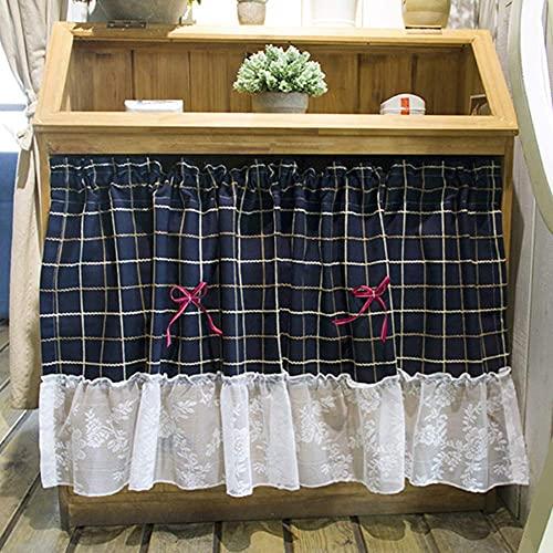 POIT Cortina corta de cocina a cuadros con encaje blanco, cortinas cortas, para casa de campo, baño o armario
