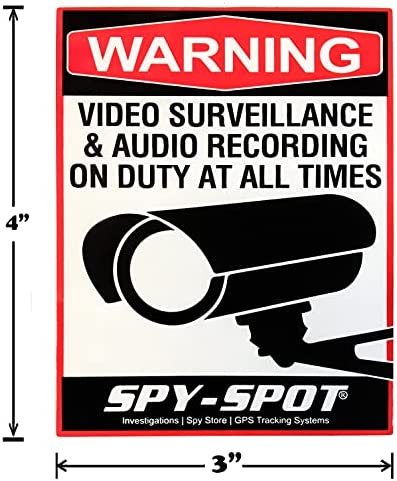 Spy Spot 4″ x 3″ Set of 4 Audio and Video Surveillance Decals Wall Stickers Vinyl UV Resistant Weatherproof Simple Installation Home Business and Vehicles