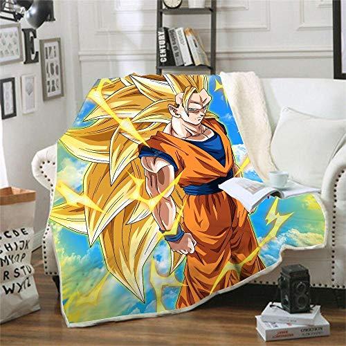 Ririhong Manta de Lana de Coral Doble Espesar Manta de impresión Digital 3D Manta de sofá Manta Dragon Ball Cartoon-130cm * 150cm (1pcs) _5
