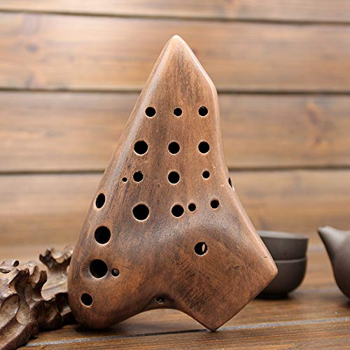 HUANGDANSEN Ocarina 16 Hole Pottery Flute, Three Pipe Smoked Pottery Flute