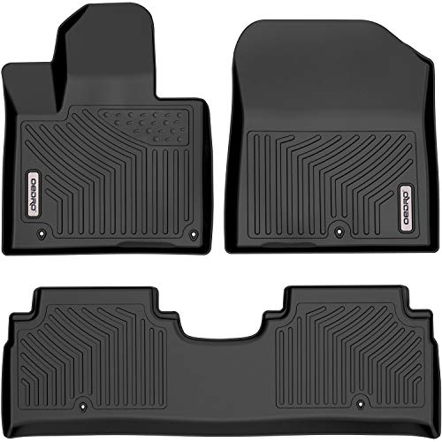 oEdRo Floor Mats Compatible with 2015-2020 Kia Sorento, Unique Black TPE Material, All-Weather Guard, Includes 1st and 2nd Rows: Front, Rear, Full Set Liners