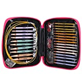Juego de 13 pares de agujas de tejer intercambiables, agujas de tejer circulares con 2,75 mm-10 mm