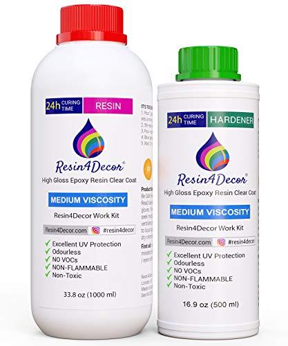Epoxidharz RESIN4DECOR - Mittelviskose Gießharz - glasklares 2 Komponenten - Top-Qualität Transparentes Kristallharz - Laminierharz Resin Set für Schmuck Tablett Leinwand Malerei 1500ml