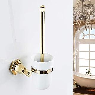 LBMTFFFFFF Brosse de Toilette Brosses de Toilette Porte-Brosse de Toilette Laiton Européen Plaqué Or Produits de Salle de ...