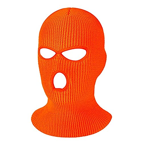 3-Hole Knitted Full Face Cover Ski Mask, Men Women Winter Balaclava Warm Knit Full Face Mask Head Wrap for Outdoor Sports (Orange, One Size)