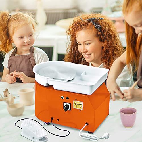 4YANG Tour de potier électrique, 25 cm 350 Watt machine à céramique avec pédale et mettre à jour les cymbales ABS avec kit céramique 8 pièces (certifié CE) (Orange)