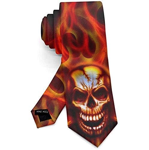 Schedel Crossbones Vuur Vlammende Mannen Necktie Mode Tie voor pak College Festival