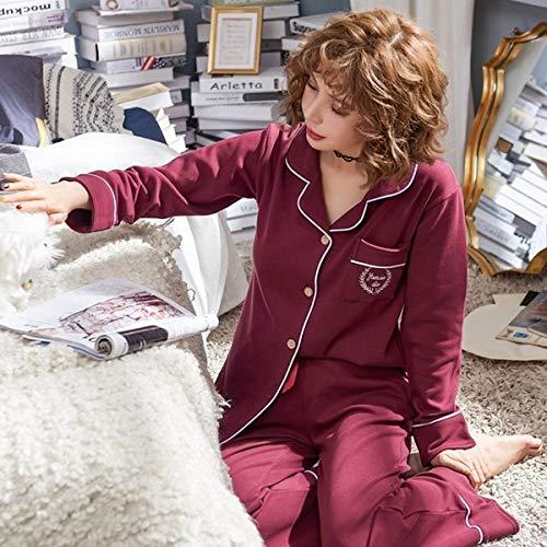 Nuevo otoño e Invierno Pijamas de Manga Larga Traje de Mujer niñas 100% algodón Tejido para el hogar Casual Suelto Ropa de Mujer Linda 1 M