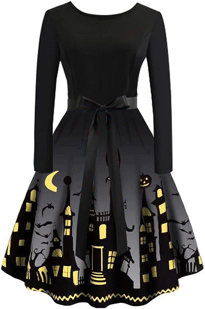 Monbof Halloween Women's Digital Printed Waist Long Sleeve Stitching Dresses
