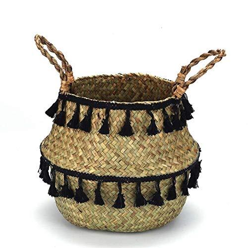 WUJIANCHAO Home Storage Foldable Natural Seagrass Woven Storage Basket Garden Flower Pot Laundry Basket Wicker Bellied Baskets with Tassel
