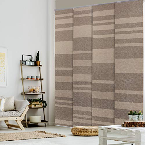 GoDear Design Deluxe 99.99% Blackout Adjustable Sliding Panel Track Blind 45.8'- 86' W x 96' H, Extendable 4-Rail Track, Metallic Luster Trimmable Pleated Natural Woven Fabric, Wood