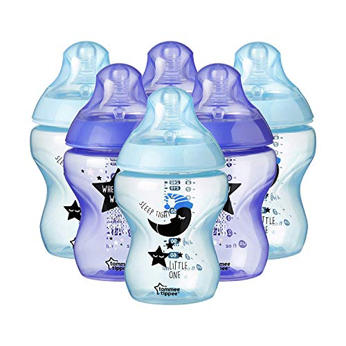 Tommee Tippee Closer to Nature - Biberón anticólico, 260 ml (pack de 6 unidad con decoraciónes azules),42256410