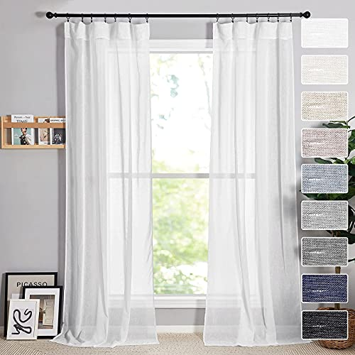 RYB HOME White Sheer Curtains Natural Linen Blend Semi Sheer Curtains Soft Light & Airy Privacy Sheers for Bedroom Living Room Canopy Bed Bathroom, 52 inch Wide x 96 inches Long, 2 Pcs