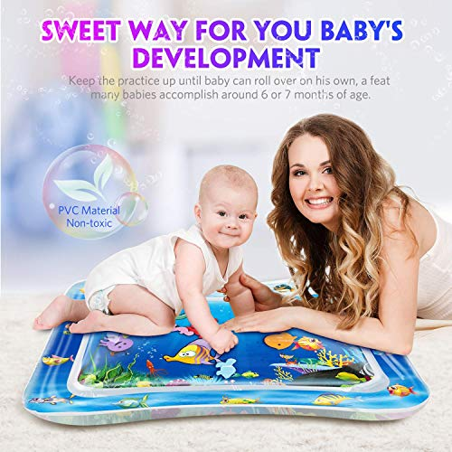 "QPAU Baby Toys 3-6 Months, Tummy Time Baby Water Mat, Infant Toy Inflatable Activity Center, Baby Toys 6 to 12 Months, 28""x20"""