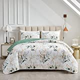 Joyreap 3 Pieces Microfiber Quilt Set, Botanical Green Leaves on White Reversible Design, Bedspread Bed Cover for All Season, 1 Quilt and 2 Pillow Shams (Full/Queen, 90x90 inches)