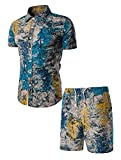 FTCayanz Men's Floral Tracksuit 2 Pieces Short Sleeve Shirt and Shorts Suit Hawaiian Outfits Blue XL