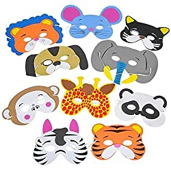 12 Assorted Foam Animal Masks