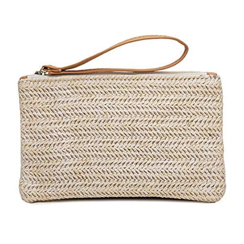 Roexboz Strandtasche mit Reißverschluss Damen Pailletten Streifen Umhängetasche Handtasche Sommer Casual Beach Pocket Bag Frauen Stroh Tasche Böhmische Clutch