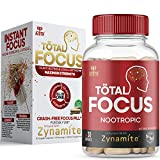 AZOTH Total Focus Supplement - Instant Focus, Energy, Attention & Concentration - with Zynamite, Rhodiola, PurCaf Organic Caffeine - All-Natural, Crash-Free Nootropic Brain Supplement (30 Pills)