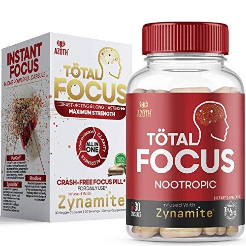 AZOTH Total Focus Supplement - Instant Focus, Energy, Attention & Concentration - with Zynamite, Rhodiola, PurCaf Organic Caffeine - All-Natural Crash-Free Nootropic Brain Supplement (30 Pills)