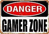 Cartel metálico de Carlena Danger Gamer Zone, estilo vintage, para barra de tienda, decoración de pared para el hogar, 20 x 30 cm