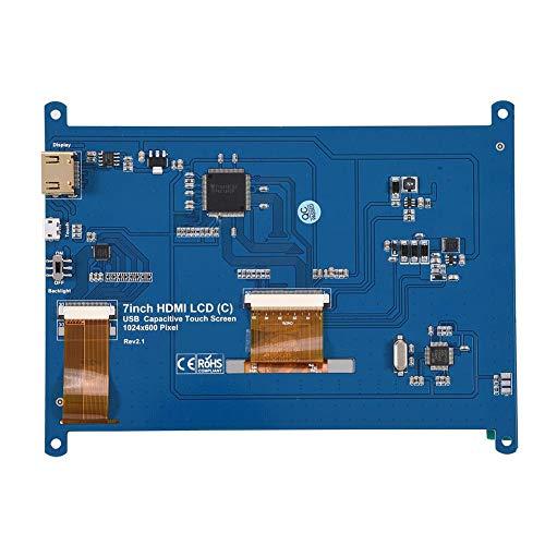 7 Zoll Kapazitiver Touchscreen, Tragbar Monitor IPS LCD Display Anzeigen, 1024×600 Auflösung, HDMI USB Interface, Unterstützt Mini PC, Kompatible mit Raspberry Pi B/A+/B+/2B/3B Banana Pi/Pro