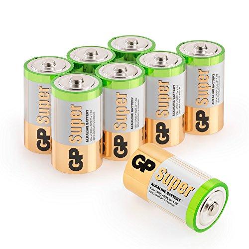 GP Batterien Typ D (Mono / LR20) Super Alkaline Technologie 1,5V, 8 Stück Monozellen im Vorratspack