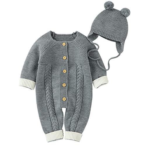 Mono de Punto Bebe NiñO NiñAs Mameluco de Manga Larga de Invierno Cálido + Sombrero de Pompón