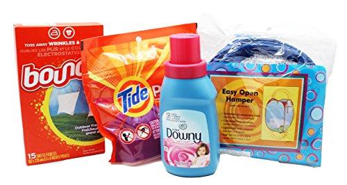 Dorm Room Laundry Kit with Tide Laundry Detergent Pods, Downy Softener, Dryer Sheets & Bonus Hamper